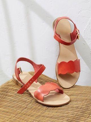 Open Toe Plain Leather With Jewels Sandals