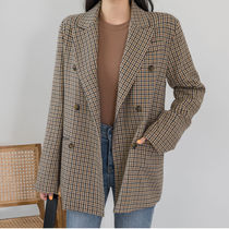 Other Check Patterns Casual Style Medium Jackets