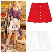 ELF SACK Short Denim Street Style Plain With Jewels Skirts