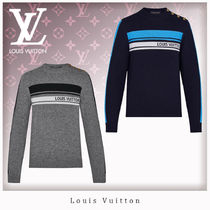 Louis Vuitton Crew Neck Stripes Casual Style Unisex Cashmere Long Sleeves