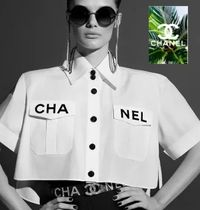 CHANEL Short Casual Style Plain Cotton Short Sleeves
