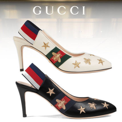 1aa1ba0984 GUCCI Sylvie Embroidered leather Web slingback pump (552)