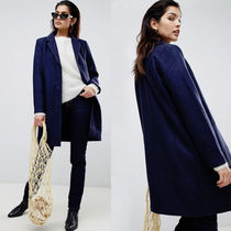 ASOS Stand Collar Coats Wool Plain Medium Elegant Style Coats
