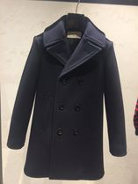 CELINE Wool Blended Fabrics Plain Medium Elegant Style Peacoats