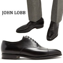 John Lobb CITY Straight Tip Plain Leather Oxfords