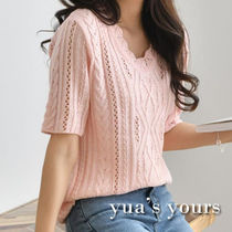 Cable Knit V-Neck Plain Medium Short Sleeves Knitwear