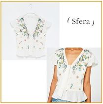 Sfera Flower Patterns Casual Style Cotton Medium Short Sleeves