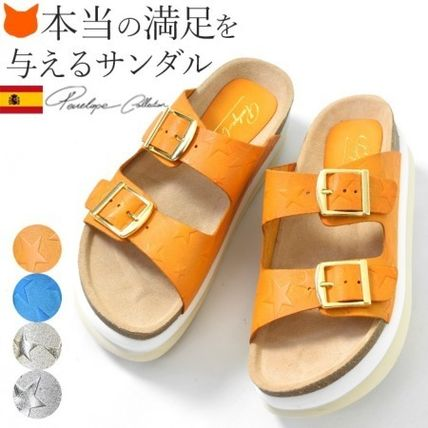 Star Platform Casual Style Leather Sport Sandals