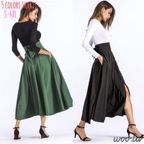 Flared Skirts Casual Style Plain Cotton Long Midi
