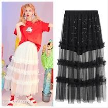 ELF SACK Plain Long Midi With Jewels Maxi Skirts