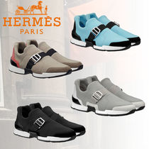 HERMES Rubber Sole Casual Style Plain Leather Low-Top Sneakers