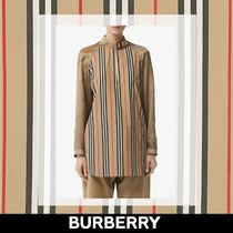 Burberry Stripes Long Sleeves Cotton Logos on the Sleeves