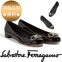 Salvatore Ferragamo Platform Plain Toe Casual Style Enamel Plain Lace-Up Shoes