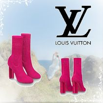 Louis Vuitton Monogram Square Toe Plain Block Heels Elegant Style