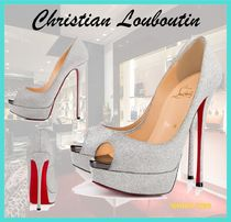 Christian Louboutin Open Toe Pin Heels Glitter Stiletto Pumps & Mules