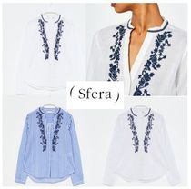 Sfera Stripes Dots Lace-up Casual Style Long Sleeves Cotton Medium