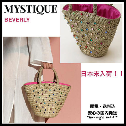 Blended Fabrics With Jewels Straw Bags