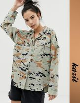 PULL & BEAR Camouflage Street Style Long Sleeves Shirts & Blouses