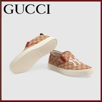 GUCCI Monogram Unisex Blended Fabrics Leather Loafers & Slip-ons