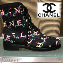 CHANEL Plain Block Heels Elegant Style Ankle & Booties Boots