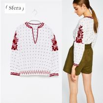Sfera Casual Style Long Sleeves Cotton Shirts & Blouses