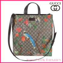 GUCCI Flower Patterns Unisex A4 2WAY Totes