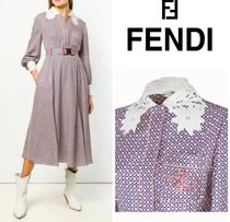 FENDI Silk Flared Long Sleeves Medium Dresses