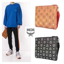 MCM Monogram Casual Style Unisex Blended Fabrics Clutches