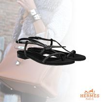 HERMES Open Toe Plain With Jewels Sandals
