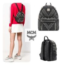 MCM Casual Style Studded Leather Backpacks