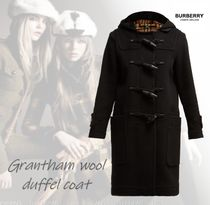 Burberry Other Check Patterns Wool Street Style Duffle Coats