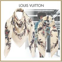 Louis Vuitton Flower Patterns Silk Blended Fabrics Fringes Elegant Style