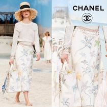 CHANEL Flower Patterns Cotton Long Maxi Skirts