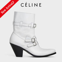 CELINE Cowboy Boots Casual Style Blended Fabrics Street Style Plain