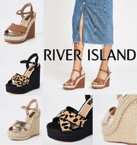 River Island Leopard Patterns Open Toe Casual Style Faux Fur Python