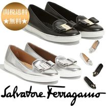 Salvatore Ferragamo Platform Casual Style Plain Leather Lace-Up Shoes