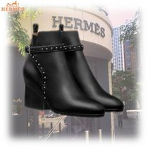 HERMES Plain Toe Blended Fabrics Studded Plain Leather Block Heels