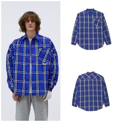 Other Check Patterns Street Style Long Sleeves Cotton