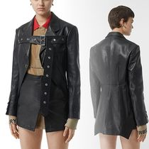 Burberry Street Style Plain Leather Medium Biker Jackets