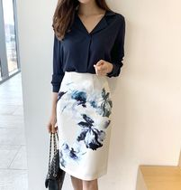 Pencil Skirts Flower Patterns Medium Office Style