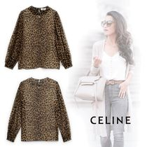 CELINE Leopard Patterns Silk Shirts & Blouses