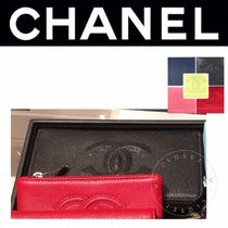 CHANEL ICON Street Style Plain Leather Handmade Long Wallets