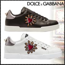 Dolce & Gabbana Heart Blended Fabrics Studded Leather Sneakers