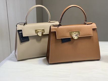 CARBOTTI 2WAY Plain Leather Elegant Style Handbags
