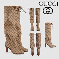 GUCCI Monogram Plain Toe Pin Heels High Heel Boots
