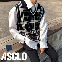 ASCLO Pullovers Other Check Patterns Unisex Vests & Gillets
