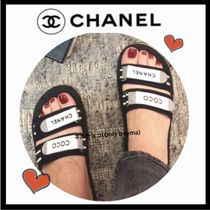 CHANEL ICON Open Toe Casual Style Blended Fabrics Bi-color Plain Sandals