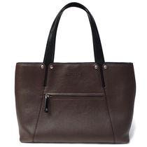 Bvlgari Unisex Blended Fabrics A4 Bi-color Leather Totes
