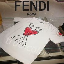 FENDI Crew Neck Unisex Cotton Short Sleeves Crew Neck T-Shirts