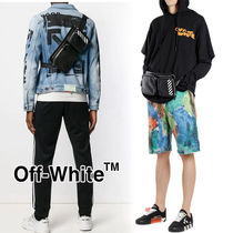Off-White Stripes Unisex Street Style 2WAY Leather Hip Packs